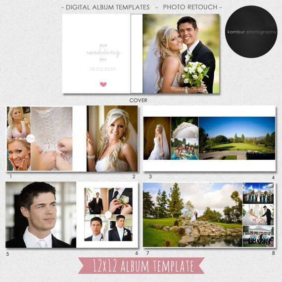 12X12, 10x10 (40 pages), Wedding Album Template PSD, Guest book - 21