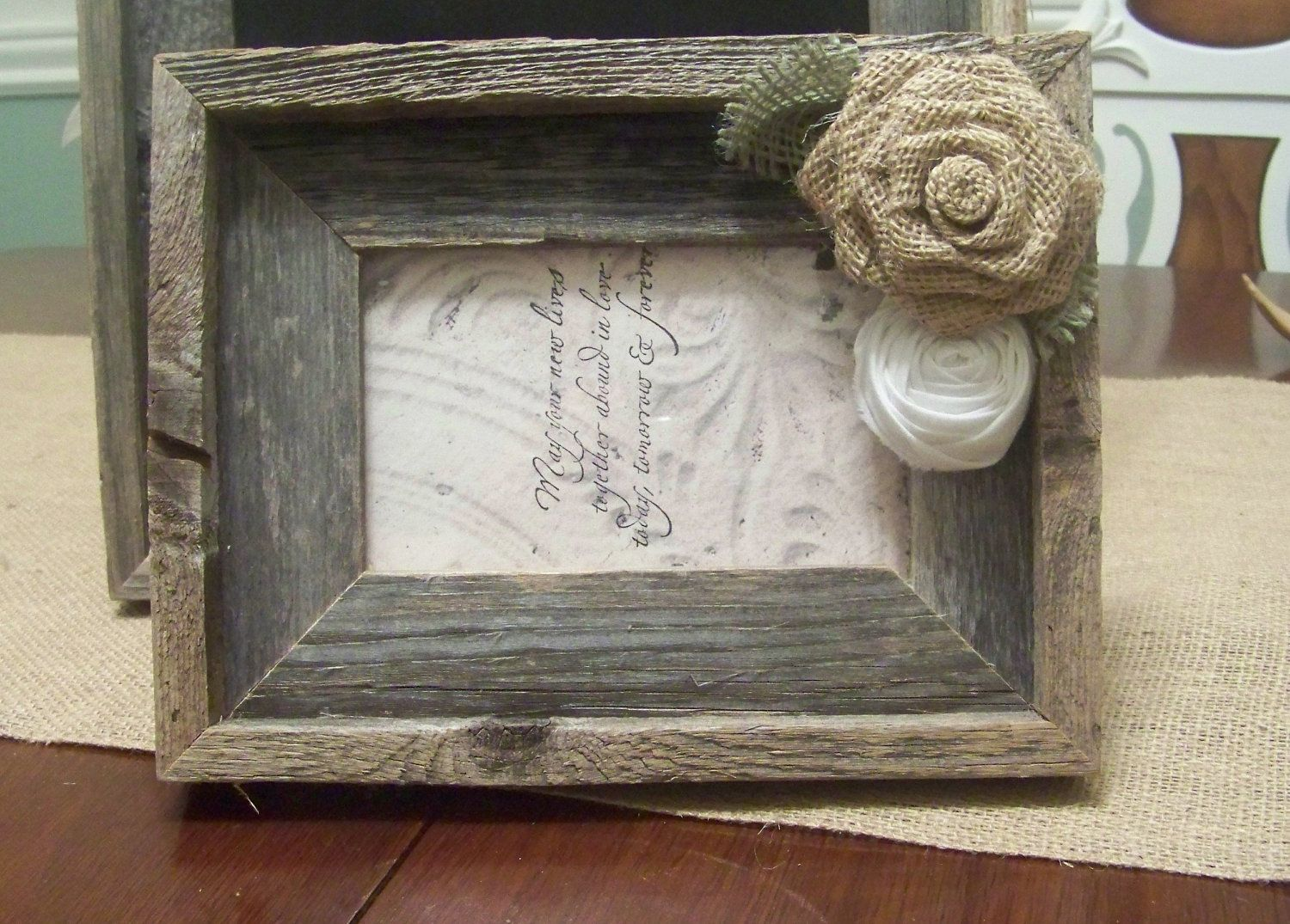 barn wood rustic picture frame with burlap rose 2800 via etsy