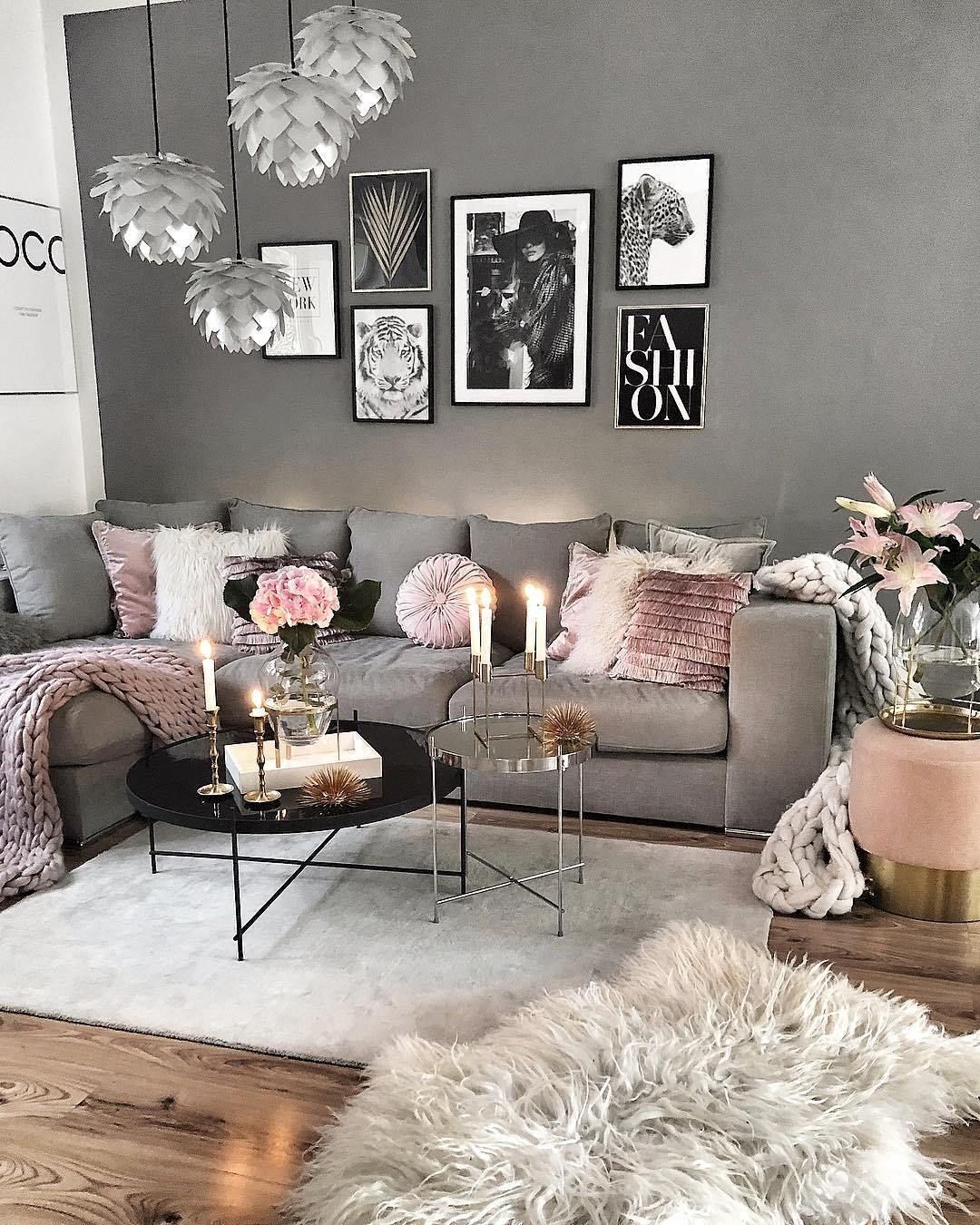 Recreate this grey and pink cozy living room decor #livingroom