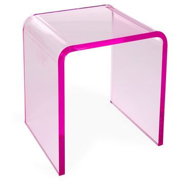 Waterfall Side Table Pink Acrylic Lucite Standard
