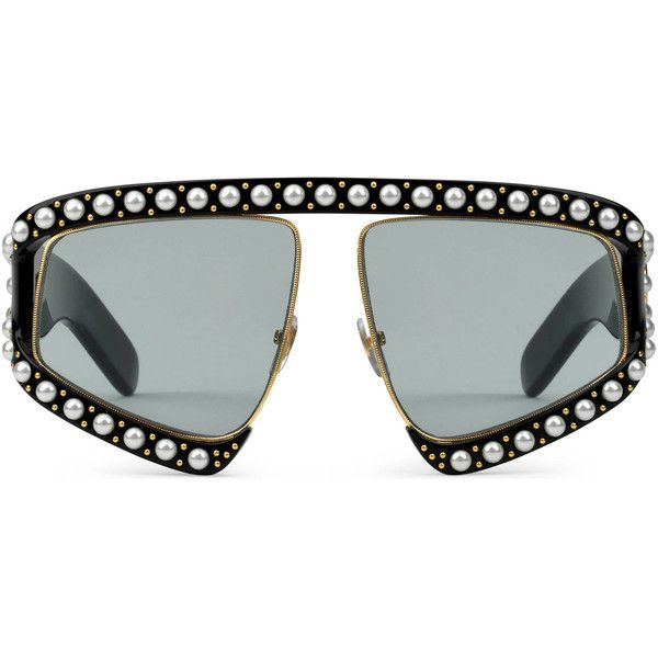 b5b91a03f98 Gucci Rectangular-Frame Acetate Sunglasses With Pearls ( 1