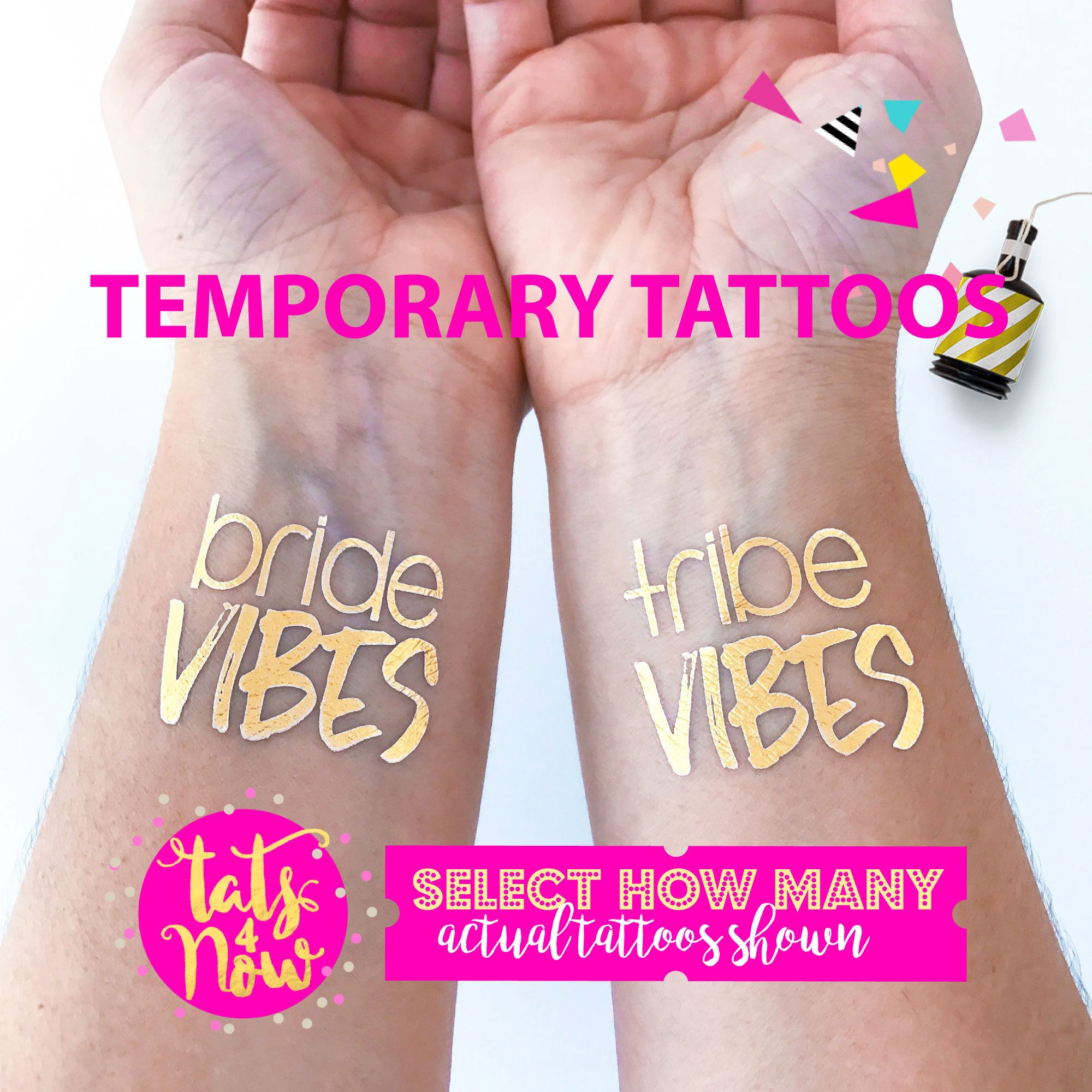 Bride Vibes, Tribe vibes, bachelorette party tattoos, super fun gold ...