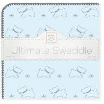 Gray Doggie with Gray Trim Pastel Blue SwaddleDesigns Ultimate Receiving Blanket