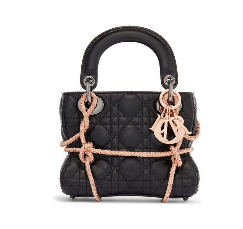 Morgane Tschiember Lady Dior bag with rose gold ropes around quilted  patchwork black leather. Rose gold keychain detail b262d44c93cd8