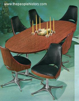 1966 chrome and woodgrain modern table set furniture - Cool things to buy for your room ...