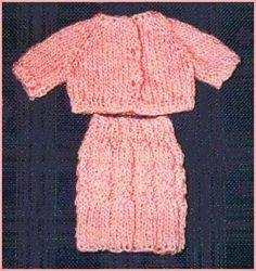 Barbie doll cardigan and cable skirt knitting pattern knitted free knitting pattern for a skirt with cables for barbie dolls a matching cardigan sweater is also available dt1010fo