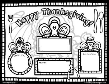 Free Thanksgiving Coloring Placemat Thanksgiving Kindergarten