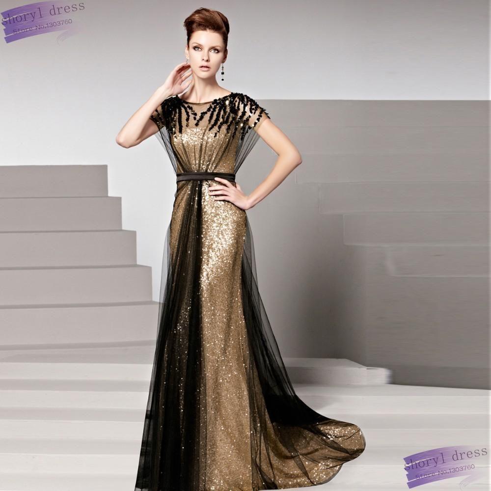 d65e98f46817f Akşam Elbise 2016 Altın Robe De Soiree Payetli Örgün Önlük Siyah Payetli  Tül Kapalı Uzun Kadın O-Boyun Parti Elbise Seksi(China (Mainland))