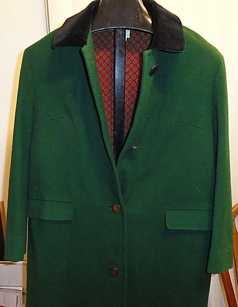 Long Green Wool Vtg Coat Made in Austria Sz 42 USA=12/14 Velvet Collar Lined NIC #SALZBURGWIENINNSBRUCK #BasicCoat
