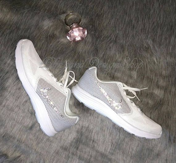 bc77fcaa5f8823 Custom Bling Swarovski Womens Nike Revoltion 3 Athletic Shoe- New in Box!  Color of