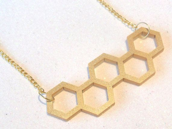 SALE Acrylic Honeycomb Necklace: BEES KNEES by GlitterbombUK