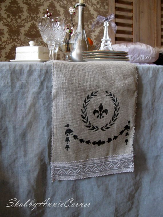 Incredible French Cottage Shabby Chic Table Runner By Shabbyanniecorner Download Free Architecture Designs Remcamadebymaigaardcom
