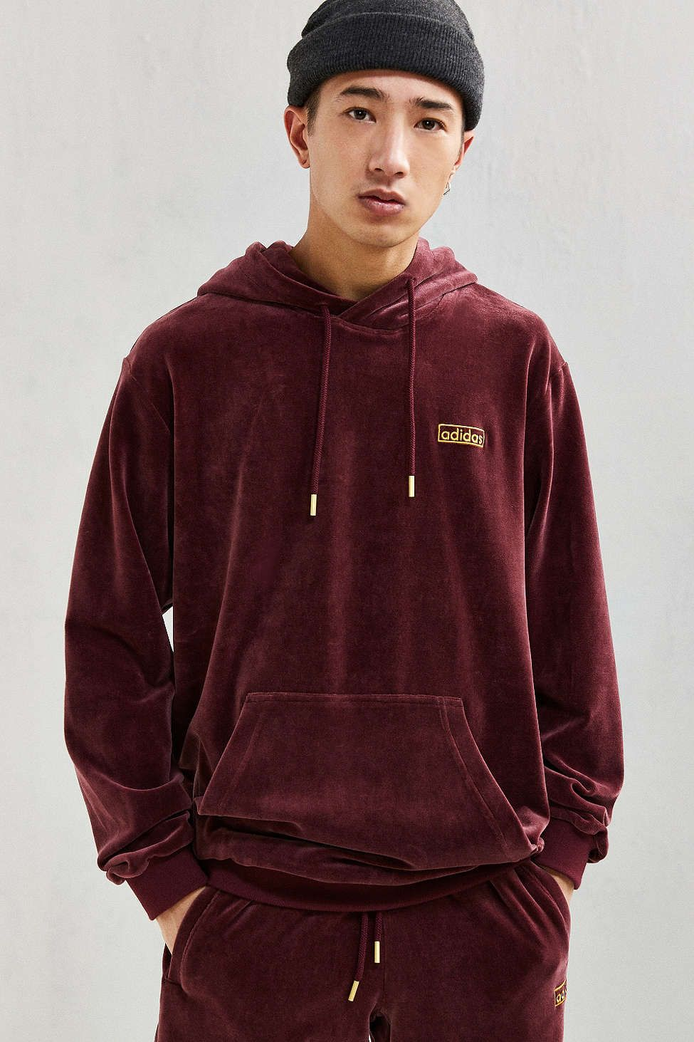 adidas velour hoodie sweatshirt urban outfitters. Black Bedroom Furniture Sets. Home Design Ideas