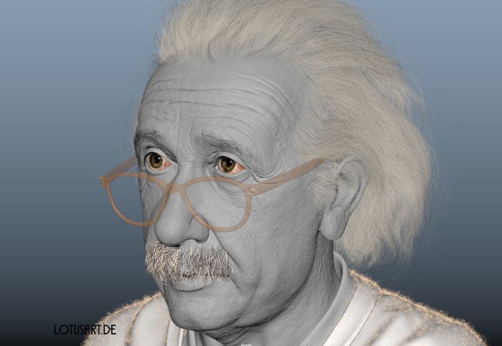 Albert Einstein 3d Portrat Fur Ein Hologram Gesichtsanimation Rigging