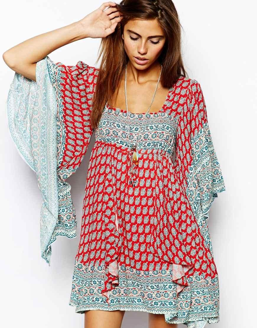 Free People | Free People Dress in Paisley Print with Flared Sleeve ...