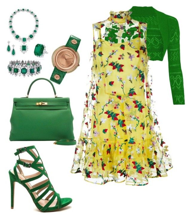 """""""Elegant in Emeralds"""" by spycred1 on Polyvore featuring Versace and Erdem"""