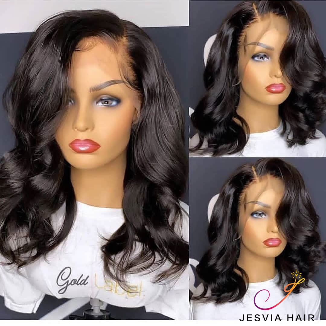 Lace Front Bob Wig With Pre Plucked Hairline Body Wave