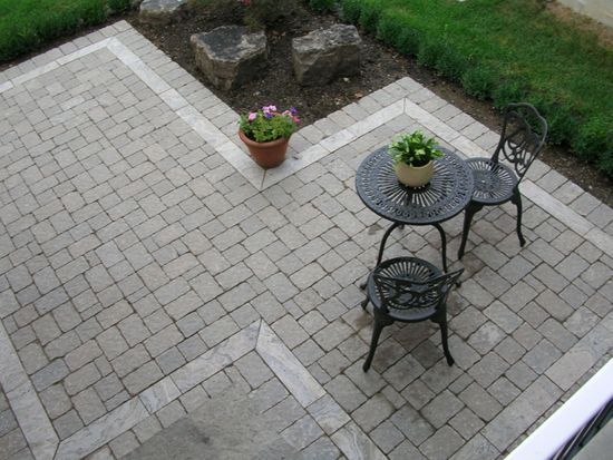 Patio - Interesting Patio Shape - To Get Around Existing Trees. Favorite - Stone Paver Patio Our Designs