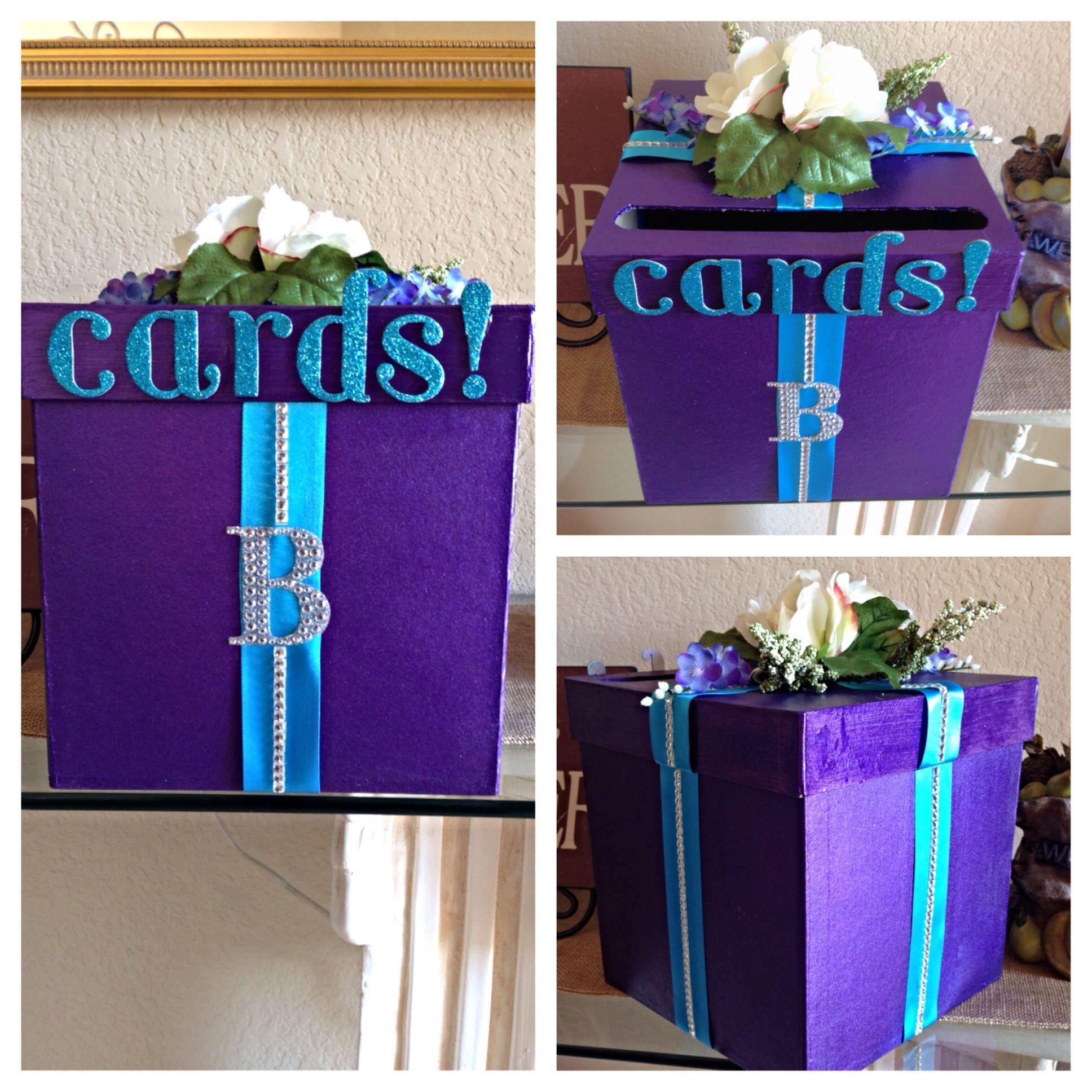 Monogram Wedding Card Box Purple Teal Easy To Do DIY Paint