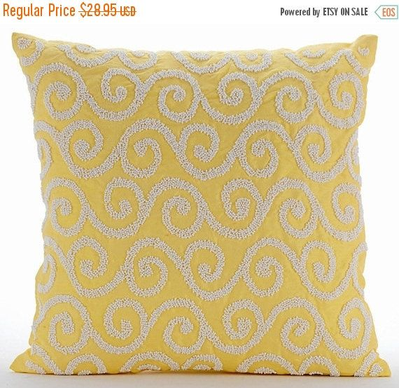 Handmade Yellow Decorative Pillow Cover 16 X16 Silk Pillows Cover Square Beaded Scroll Pillows Cover Modern Pillow Cover Yellow Flavor Yellow Decorative Pillows Silk Pillow Cover Decorative Throw Pillow Covers