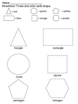 this printable contains six 2d geometric shapes that allows students to trace and color each. Black Bedroom Furniture Sets. Home Design Ideas