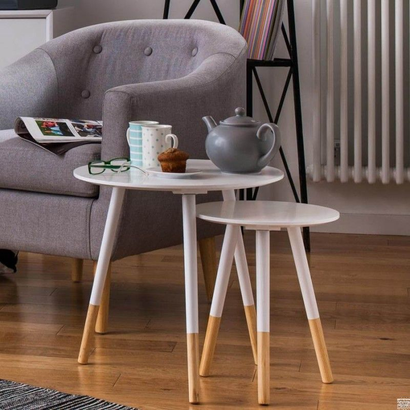 Scandinavian Inspired Set of Two Side Tables Table, Side