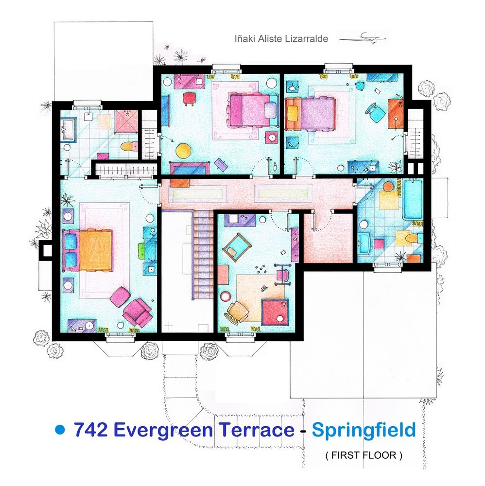 The House Of THE SIMPSONS   Individual Floorplans
