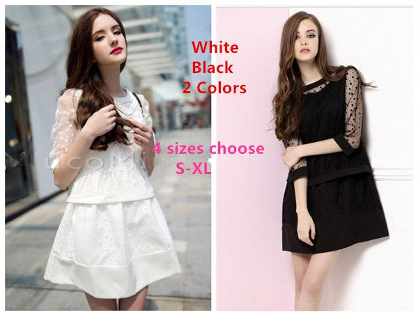New Arrive ! New 2014 Fashion Summer white/black Vest Women Lace Dress + Organza Smock Women Sets  $25.33