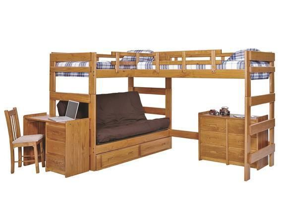 Jace L-Shaped Loft Bed with Futon | Kids bunk beds, Bunk beds with ...