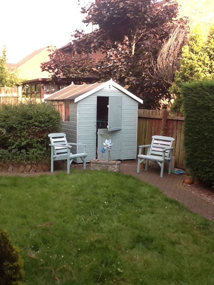 Turned my humble garden shed into a lovely beach hut! With