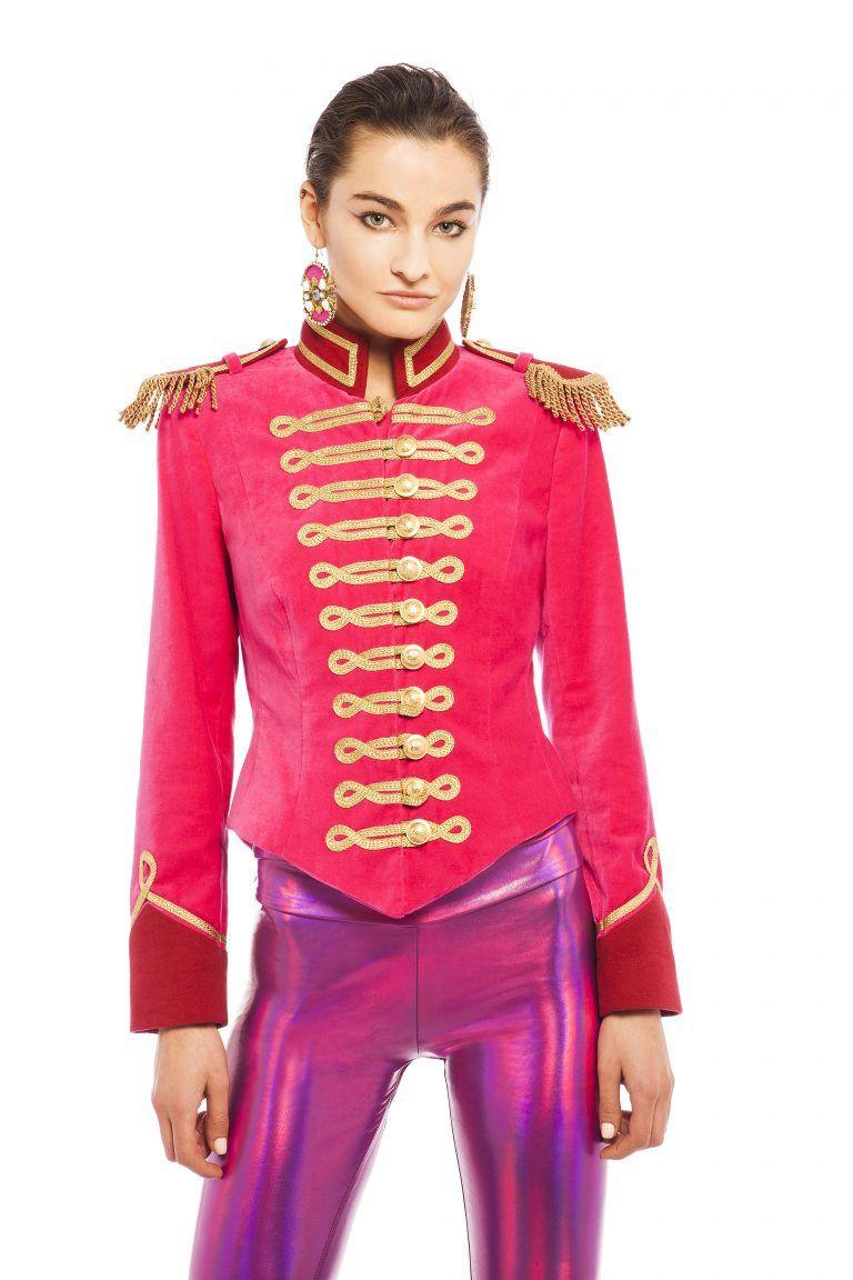 Hot Pink Velvet V-Cut Jacket by Pinky Laing  2c5c413a3d86