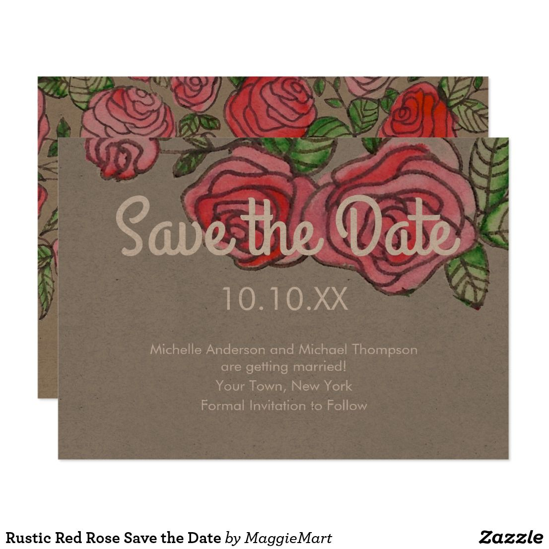 Rustic Red Rose Save the Date Invitation   Pinterest