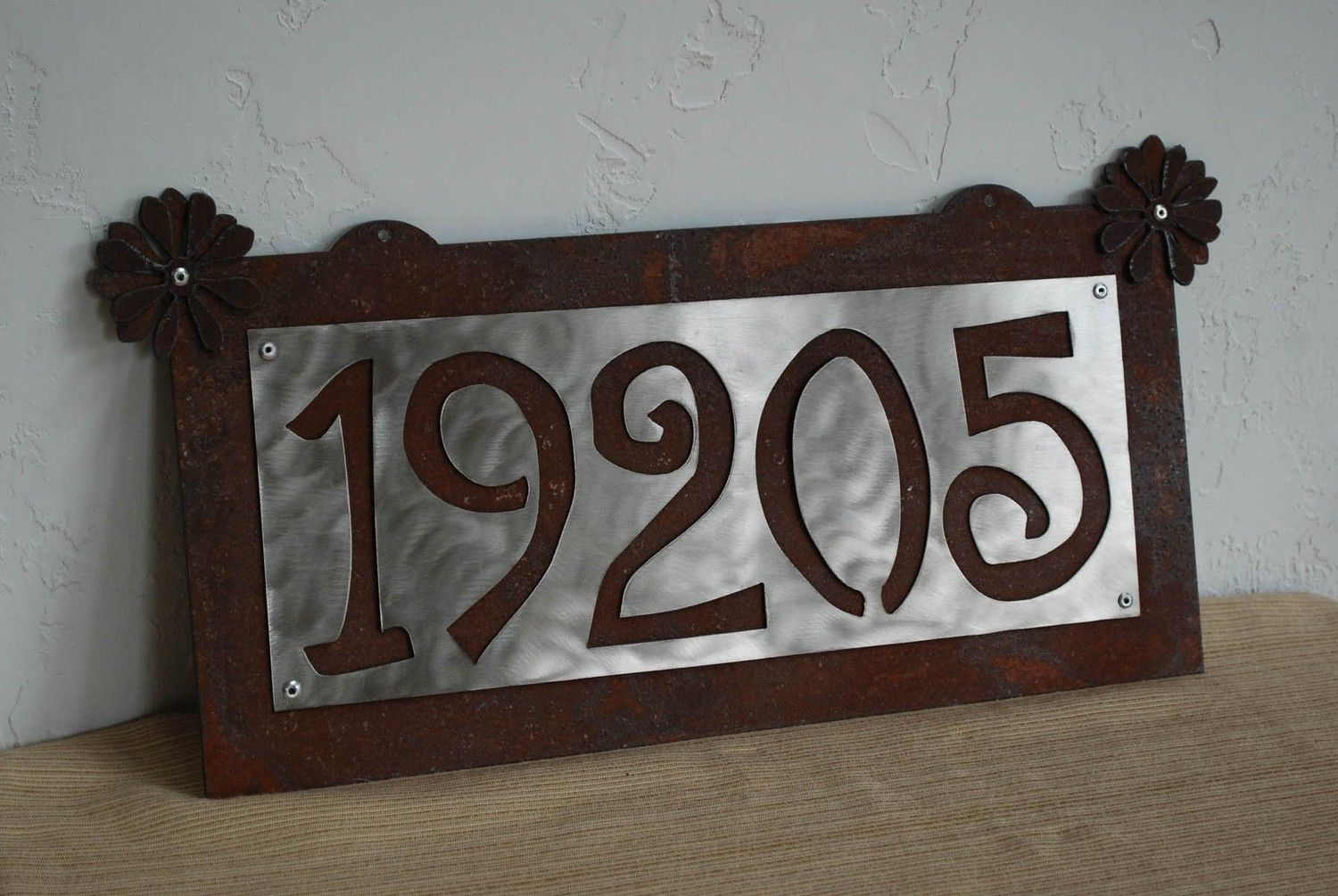 House Numbers Sign Rusted Steel Stainless Up To 5 65 00