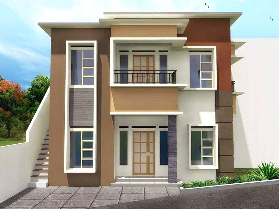 Gambar Rumah Minimalis 2 Lantai Warna Cokelat  Desain