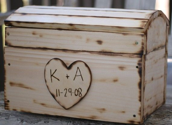 Large Personalized Wedding Card Box Rustic Decor by braggingbags – Large Wedding Card Box
