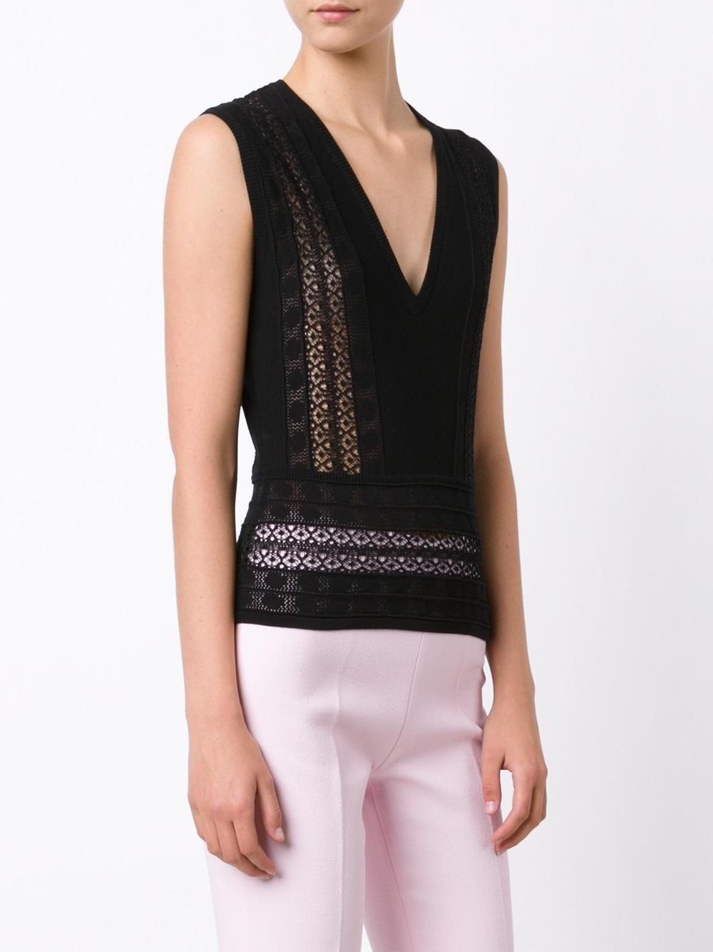 Giambattista Valli lace insert knitted top