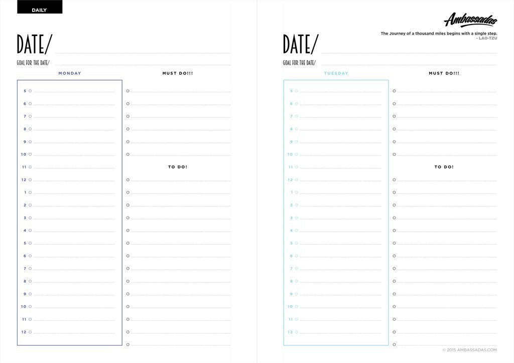 Free Printable! Ambassadas A4 Planner, Daily