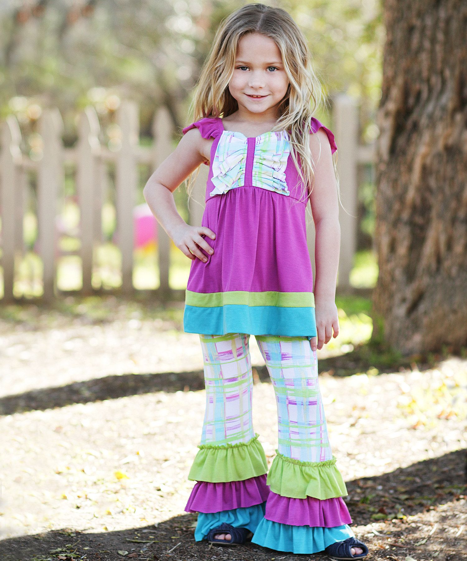 Orchid Plaid Patchwork Ruffle Tunic & Pants Toddler & Girls