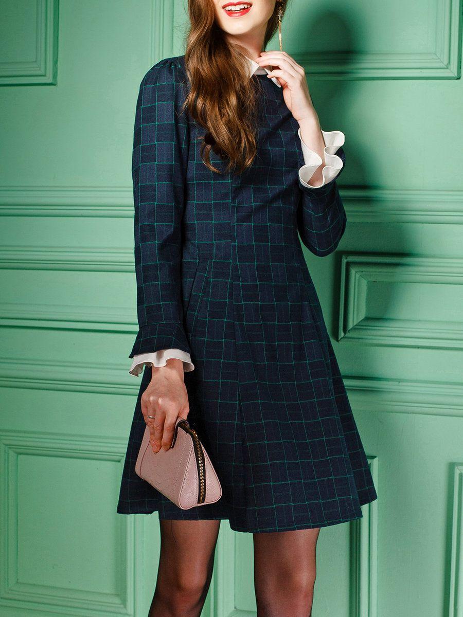 Green long sleeve cocktail dress  AdoreWe StyleWe Wifing Green Long Sleeve Aline Printed Plaid Midi