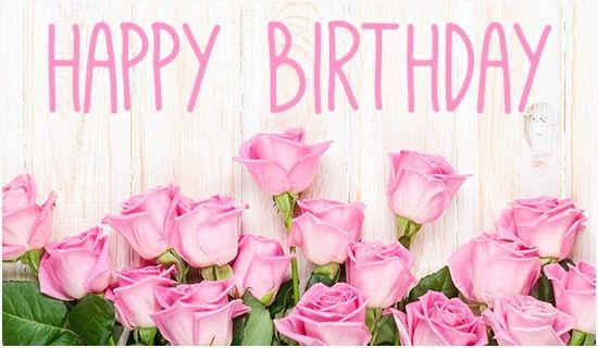 Happy Birthday Pink Rose Graphic Happy Birthday Flower Happy