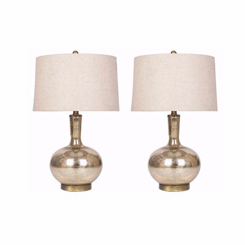 Set Includes 2 Table Lamps Setting Indoor Shade Beige Socket Switch Number Of Lights One 1 Requ Mercury Glass Table Lamp Glass Table Lamp Gold Table Lamp