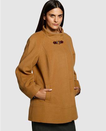 84bf7c77a32 Chaquetón corto de mujer talla grande Couchel con cuello chimenea ...