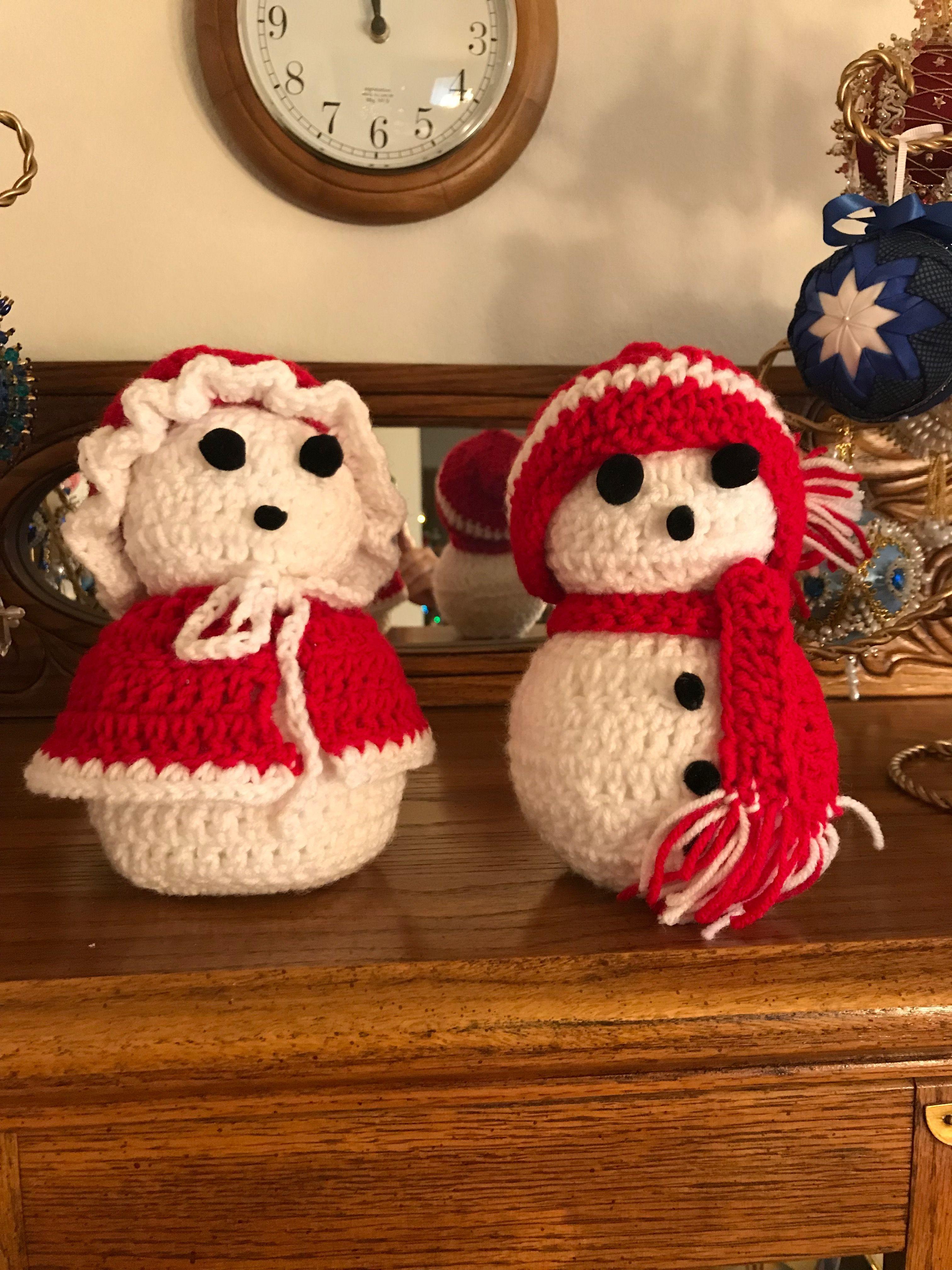 Crochet snowman set. Used foam ball for filling. Crochet