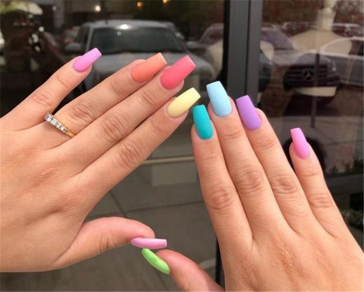Stunning Rainbow Or Multicolored Nail Designs And Ideas For You In Summer Summer Nails Rainbow Nails Multicol Multicolored Nails Acrylic Nails Rainbow Nails