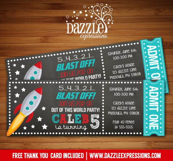 printable space rocket ship chalkboard ticket birthday invitation outer space galaxy. Black Bedroom Furniture Sets. Home Design Ideas