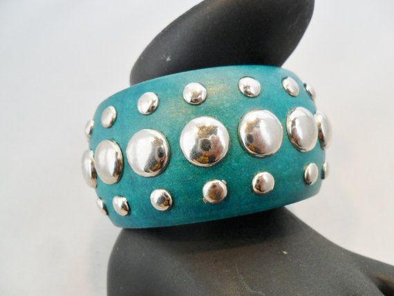 Vintage Wood Bangle Bracelet Dyed Green Silver Metal by KathiJanes