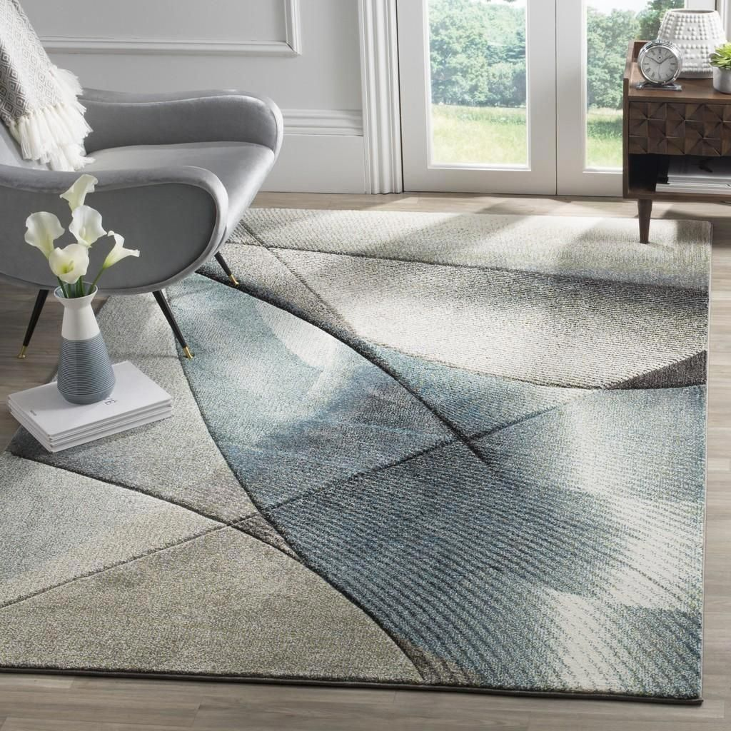 Safavieh Hollywood Hlw715d Grey Teal With Images Modern Area