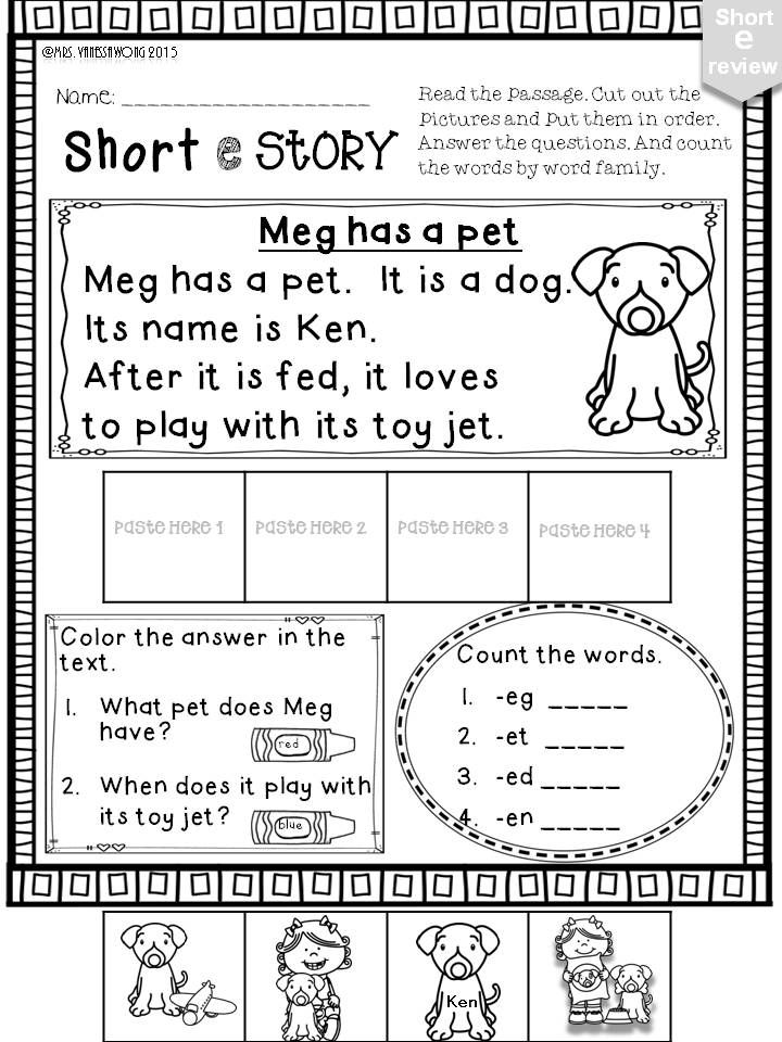 Short E Phonics worksheets and activities no prep – Short E Worksheets for Kindergarten
