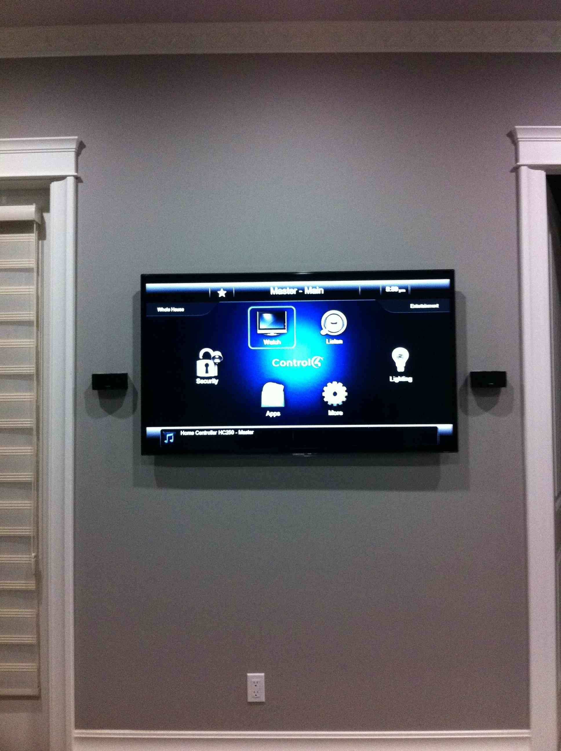Low Profile Wall Mount Tv With Custom Flush Bose 2 1 Speakers
