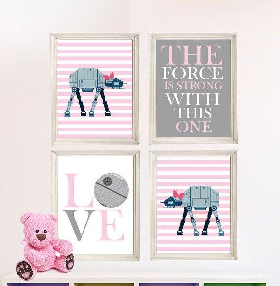 baby girl star wars nursery art girl room by starwarsprintshop